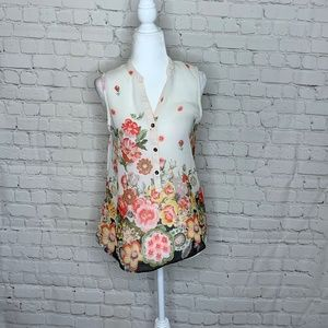 Miami Sheer Floral Button Down Sleeveless Blouse.